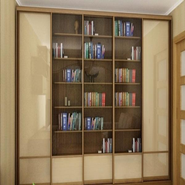 Заказать книжный шкаф-купе встроенный 5-ти дверный в санкт-п.